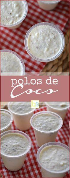 Receta de polos de coco al estilo venezolano; helados hechos con coco rallado, leche, azúcar y vainilla. Se sirven en pequeños vasos. Descubre mas en @bizcochosysan