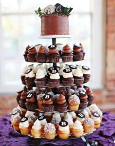 wedding cupcake tower: top is bride/groom cake with love birds in their nest on top each cupcake can be a nest from the icing with some eggs in it
