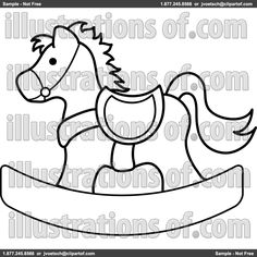 Clip Art Illustration of a Rocking Horse Coloring Page moldes