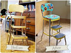 KitchenStool - Before and after.  There's hope for my similar stool!