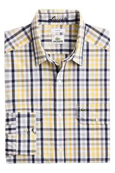 Lacoste Long Sleeve Mini Plaid Poplin Shirt With Double Pockets : Sport Shirts
