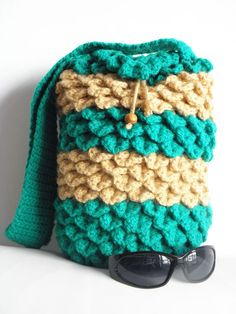 Crocodile Stitch Crocheted Drawstring Bag, Bags and Purses, Crocheted Handbag
