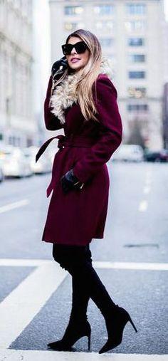#winter #fashion / burgundy coat