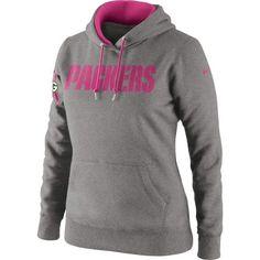 Nike Green Bay Packers Women's Breast Cancer Awareness Tailgater Pullover Hoodie Sweatshirt - Ash