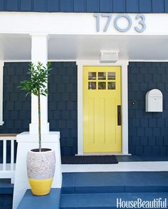"""""""It wanted to lighten up a dark, modest Craftsman house with a pop of yellow on the front door. Yellows can often be too juvenile, too in-your-face, too much, but the little bit of lime in this one makes it more sophisticated."""