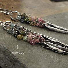 Sterling silver and  tourmaline - long earrings by studioformood on Etsy https://www.etsy.com/listing/522430640/sterling-silver-and-tourmaline-long