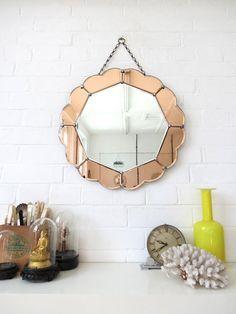 Art Deco Mirror with Bevelled Edge Colored Glass por uulipolli