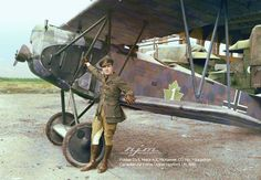 Maj A.E McKeever, with captured Fokker 1919