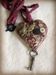 Handmade Gypsy Heart  Necklace  Mixed Media Jewelry  von QueenBe, $49.50