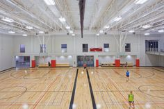 Stop by the double gym on the first floor.  The space is used for intramaurals and open gym, and has lines on the floor for: basketball, volleyball, tennis and badminton
