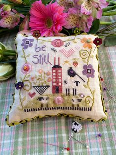 Be Still Pincushion is the title of this cross stitch kit from Shepherd's Bush who writes this is their first large pincushion kit - it is a great one! Everything you need to finish the pincushion.