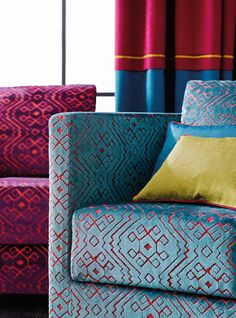 BAHIA - Designer Upholstery fabrics from SAHCO ✓ all information ✓ high-resolution images ✓ CADs ✓ catalogues ✓ contact information ✓. Furniture, Soft Furnishings, Upholstery Fabric, Pillow Cover Design, Home Textile, Upholstery Diy, Retro Interior Design, Upholstery, Modern Furniture Decor