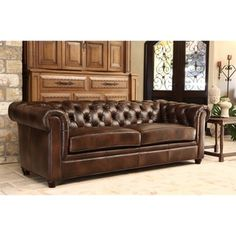Abbyson Tuscan Chesterfield Brown Leather Sofa - Free Shipping Today - Overstock.com - 15559674 - Mobile