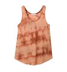 LAKE Débardeur col rond en coton fin avec un motif tie & dye pour un effet vintage délavé.