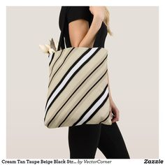 Cream Tan Taupe Beige Black Stripe Pattern Tote Bag