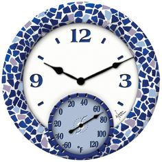 Springfield Outdoor Wall Clocks - Poly Resin Mosaic Sea Clock with Thermometer - 91502 - Plain and Simple Deals - no frills, just deals Outdoor Wall Clocks, Tabletop Clocks, Outdoor Walls, Outdoor Pool, Indoor Outdoor, Outdoor Stuff, Outdoor Ideas, Outdoor Furniture, Outdoor Mosaic Tiles