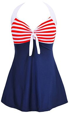 1745c00dfce02 DANIFY Vintage Sailor Pin Up Swimsuit One Piece Skirtini Cover Up Swimdress(FBA)