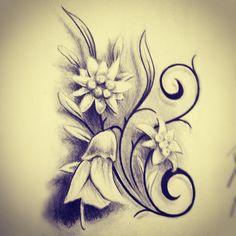 Edelweiss & Kowhai flower tattoo design. by studio41nz via Instagram http://instagr.am/p/M0WQfOkqMq/