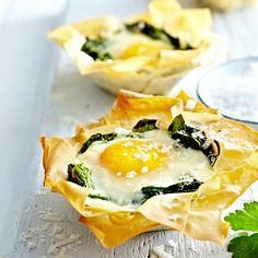 Eggs Florentine Tartlets - just needs some parma ham