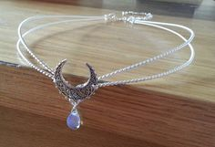 Silver Crescent tiara medieval elven circlet in Sterling plated metal and opalite moonstone Cuff Jewelry, Hair Jewelry, Jewelery, Jewelry Accessories, Bridal Accessories, Wedding Jewelry, Fantasy Gowns, Magical Jewelry, Circlet