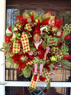 pictures of deco mesh christmas wreaths | Deco mesh Christmas Elf Wreath | Wreaths, Bows