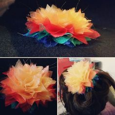 Rainbow flower for interchangeable headband