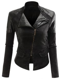 Doublju Women's Faux Leather Power Shoulder Jacket at Amazon Women's Clothing store: Faux Leather Outerwear Jackets