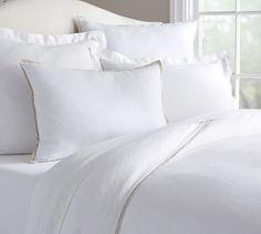 Belgian Flax Linen Contrast Flange Duvet Cover, Full/Queen, White/Natural