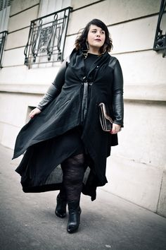 unstructured hi-lo dress + mixed media coat + bad bitch earrings + awesome waves Big Fashion, Curvy Fashion, Plus Size Fashion, Fashion Design, Dark Side, Mode Plus, All Black Everything, Trendy Plus Size, My Wardrobe