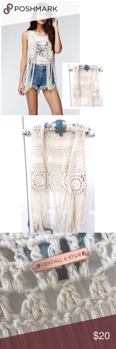 """Kendall & Kylie Crochet Fringe Vest XS/S Kendall & Kylie Crochet Fringe Vest 27"""" in length total retail$45 preowned XS/S Kendall & Kylie Tops"""