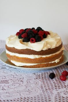 Berry Buttermilk Layer Cake via The Baker Chick