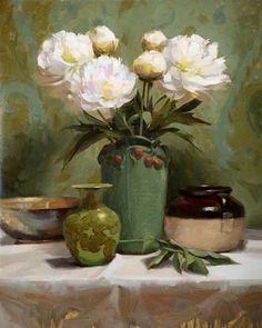 Laurie Kersey (b.1961)  — Heonies in Green (560x700)