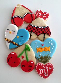 Valentine's Day cookies (kissing fish cookies, love bird cookies, cherry cookies, lingerie cookies)
