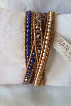 Chan-Luu-Blue-Lapis-Crystals-Gold-Beads-On-A-Brown-Leather-Wrap-Bracelet-NEW