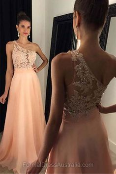 Long Formal Dresses A-line, Lace Formal Dress 2018, Appliques Evening Dresses, One Shoulder Party Dresses Cheap