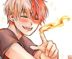 Todoroki Shouto #pointing #fire #solo #closeup