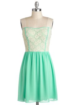 A mint spring dress is quite pretty.