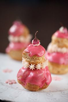 Choux Puffs of Sakura and Strawberry
