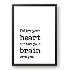 Plakát Nord & Co Follow Heart, 21 x 29 cm