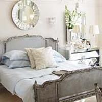 Love, love, love the blue grey of this bedroom