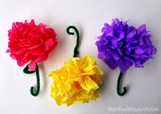 Fiber Flux...Adventures in Stitching: Tissue Paper Flowers & A New Cross Stitch Project