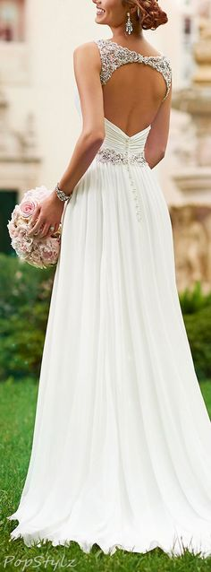 Harshori V-Neck Detailed Shoulder Straps Wedding Gown love the sparkles and open back.