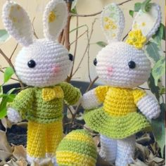 Have you ever wonder who delivers the Easter eggs! The answer is this cute couple of amigurumi bunnies.