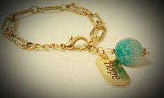 Hope bracelet, with aqua stone charm