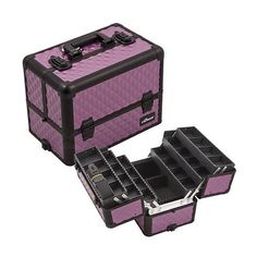 inch Purple Diamond Interchangeable E Series 6 Extendable Customize Trays Aluminum Professional Makeup Artist Travel Train Case Cosmetics Holder Storage Tote Organizer w/Shoulder Strap * You can get more details here : Makeup organization Makeup Train Case, Makeup Box, Eye Makeup Tips, Makeup Case, Beauty Makeup, Ring Storage, Makeup Storage, Cosmetic Storage, Tote Organization