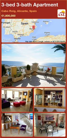 Apartment for Sale in Cabo Roig, Alicante, Spain with 3 bedrooms, 3 bathrooms - A Spanish Life Apartments For Sale, Valencia, Portugal, Jacuzzi Outdoor, Alicante Spain, Large Bedroom, Pent House, Kitchen Styling, Palmas