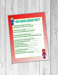 Superhero Baby shower game who knows mommy best game Printable INSTANT DOWNLOAD  UPrint  by greenmelonstudios superhero baby shower by greenmelonstudios on Etsy