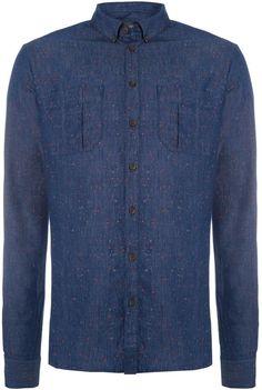 7c7766284013 House of Fraser Men s Villain Long sleeve splash denim shirt - ShopStyle