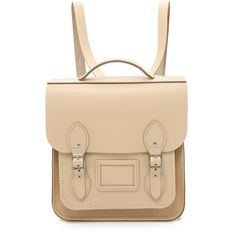 Cambridge Satchel Small Portrait Backpack featuring polyvore, fashion, bags, backpacks, cream crocus, beige leather bag, beige bag, leather bags, genuine leather backpack and flap backpack
