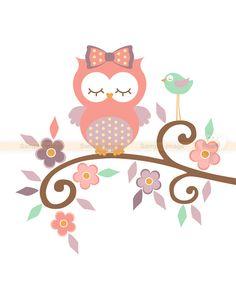 Owl Wall Art, Owl Art, Owl Nursery Decor, Elephant Nursery, Owl Wallpaper, Owl Clip Art, Purple Owl, Arte Country, Paper Owls